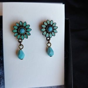 Vintage Ceramic & Beaded Turquoise Earrings